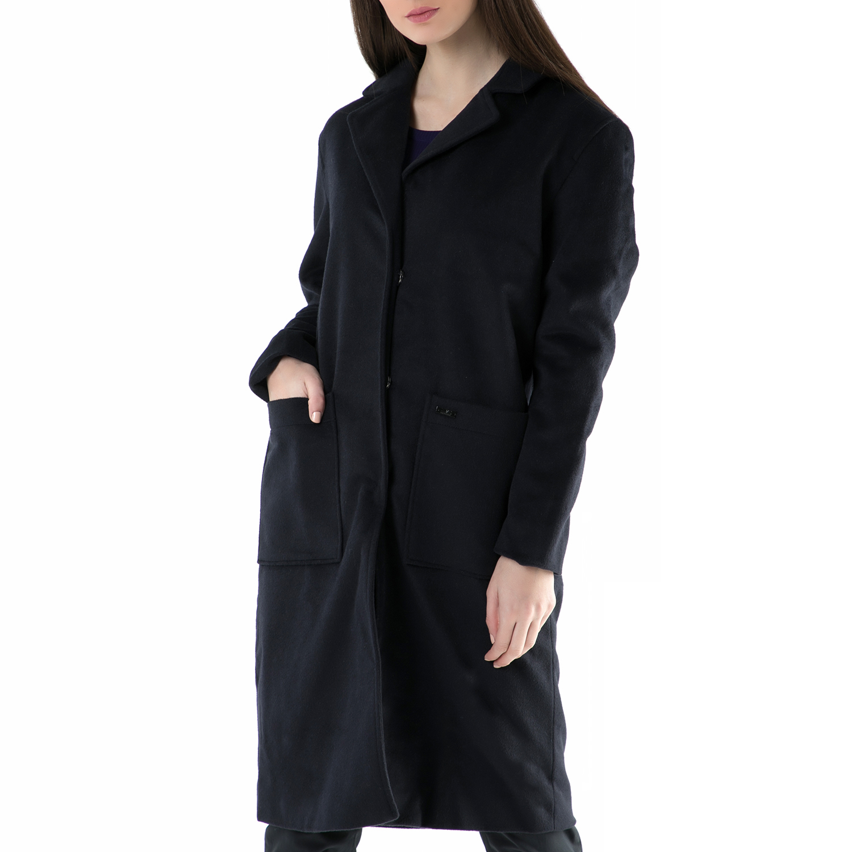 FUNKY BUDDHA – Γυναικείο παλτό FUNKY BUDDHA μπλε σκούρο 6ed7bd30de2