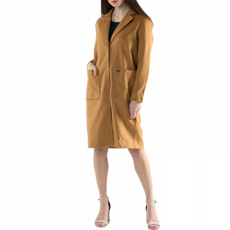 FUNKY BUDDHA - Γυναικείο παλτό FUNKY BUDDHA καφέ γυναικεία ρούχα πανωφόρια παλτό