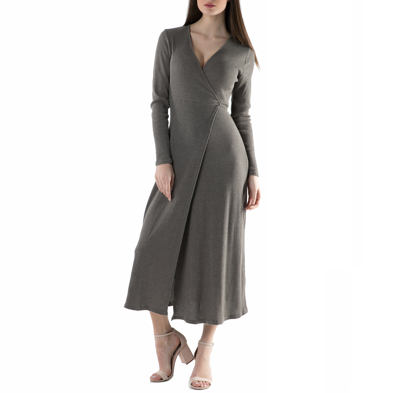 FUNKY BUDDHA - Φόρεμα FUNKY BUDDHA γκρι γυναικεία ρούχα φορέματα μάξι