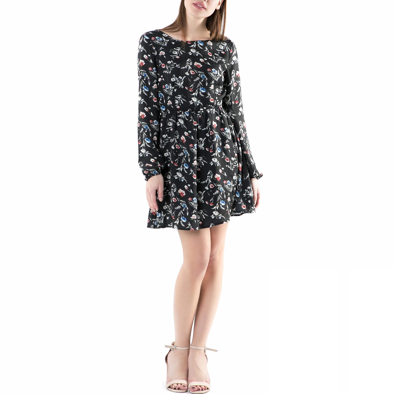 FUNKY BUDDHA - Μίνι φόρεμα FUNKY BUDDHA μαύρο με φλοράλ μοτίβο γυναικεία ρούχα φορέματα μίνι