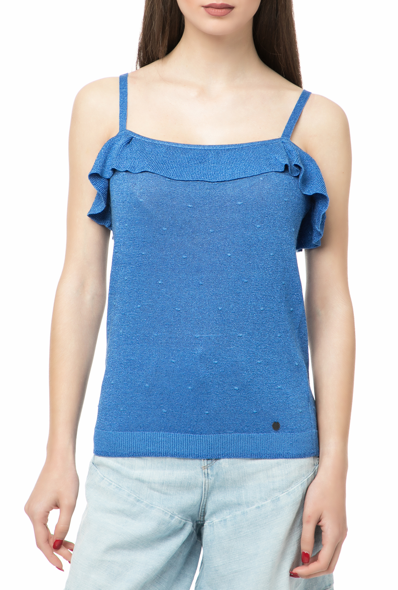 8398a7bd7f26 NUMPH - Γυναικείο τοπ με βολάν NUMPH μπλε