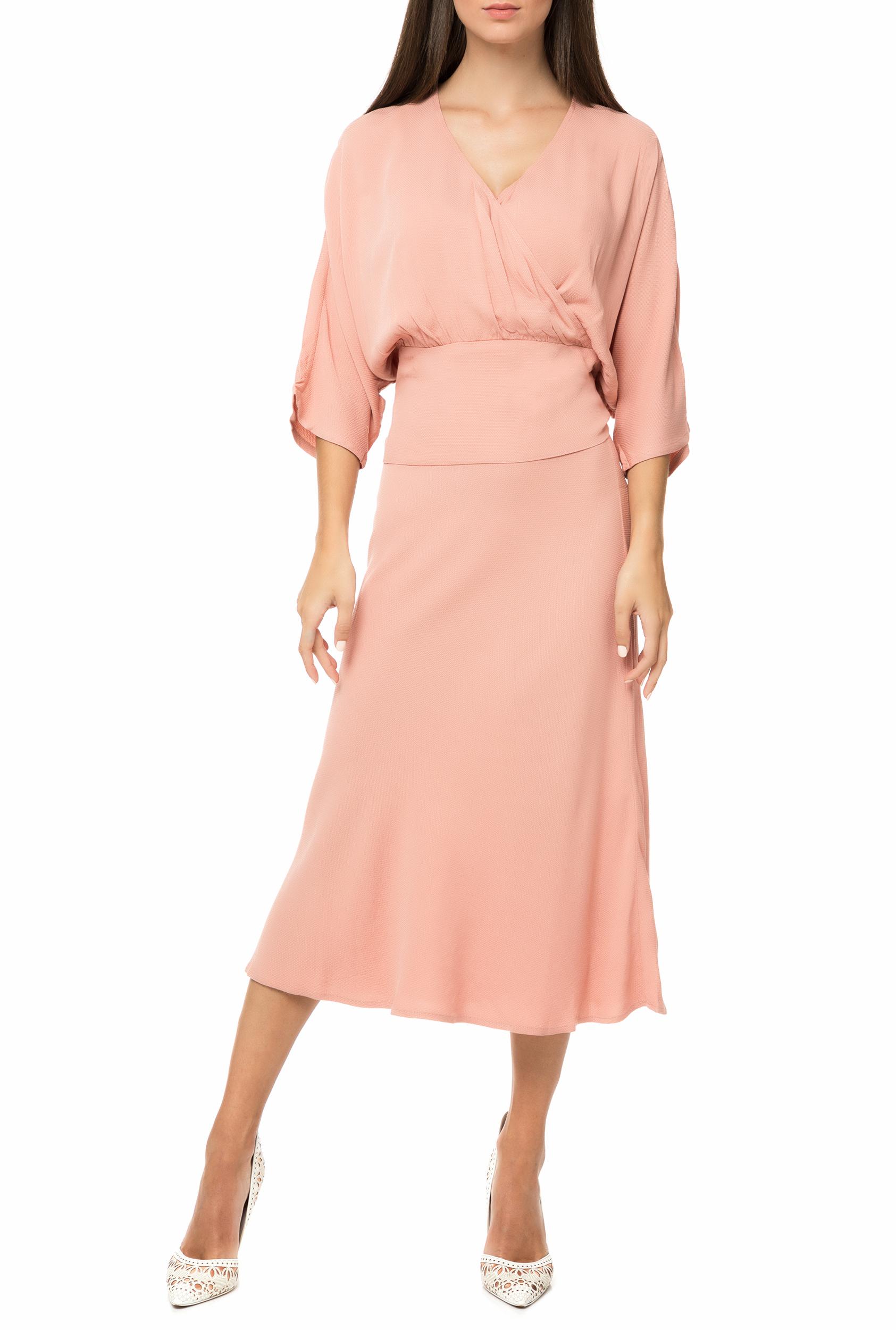 NUMPH - Γυναικείο μίντι φόρεμα NUMPH ροζ γυναικεία ρούχα φορέματα μέχρι το γόνατο