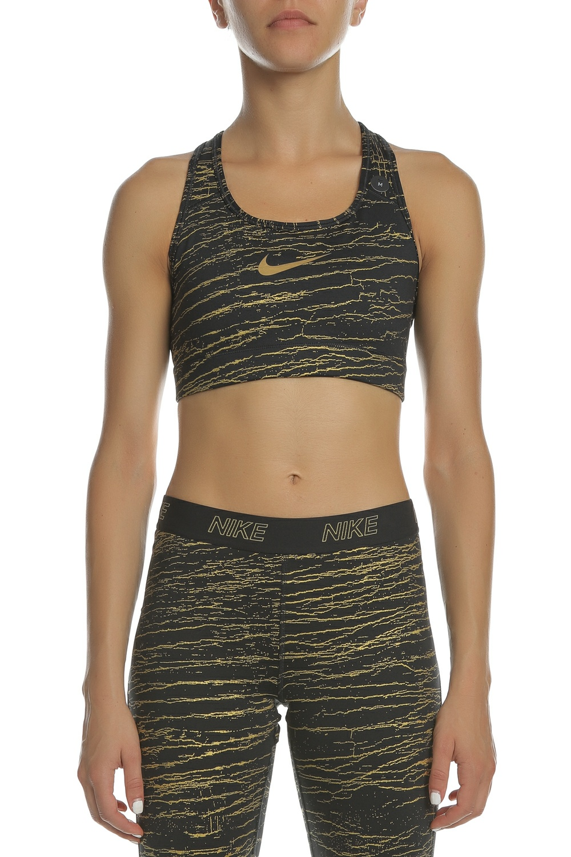 664aa322a420 NIKE - Γυναικείο αθλητικό μπουστάκι NIKE VCTY BRA MTLC CRKLE PRT μαύρο-χρυσό