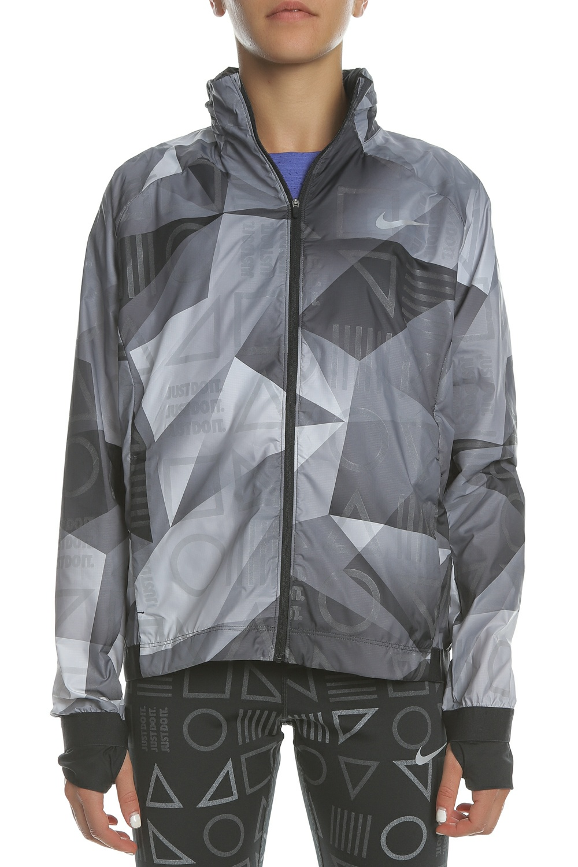 0c15894f2a79 NIKE - Γυναικείο μπουφάν NIKE SHLD JKT HD PR FL γκρι με print