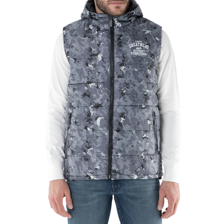 BODYTALK - Ανδρικό αμάνικο μπουφάν με κουκούλα Bodytalk γκρι ανδρικά ρούχα πανωφόρια αμάνικα μπουφάν