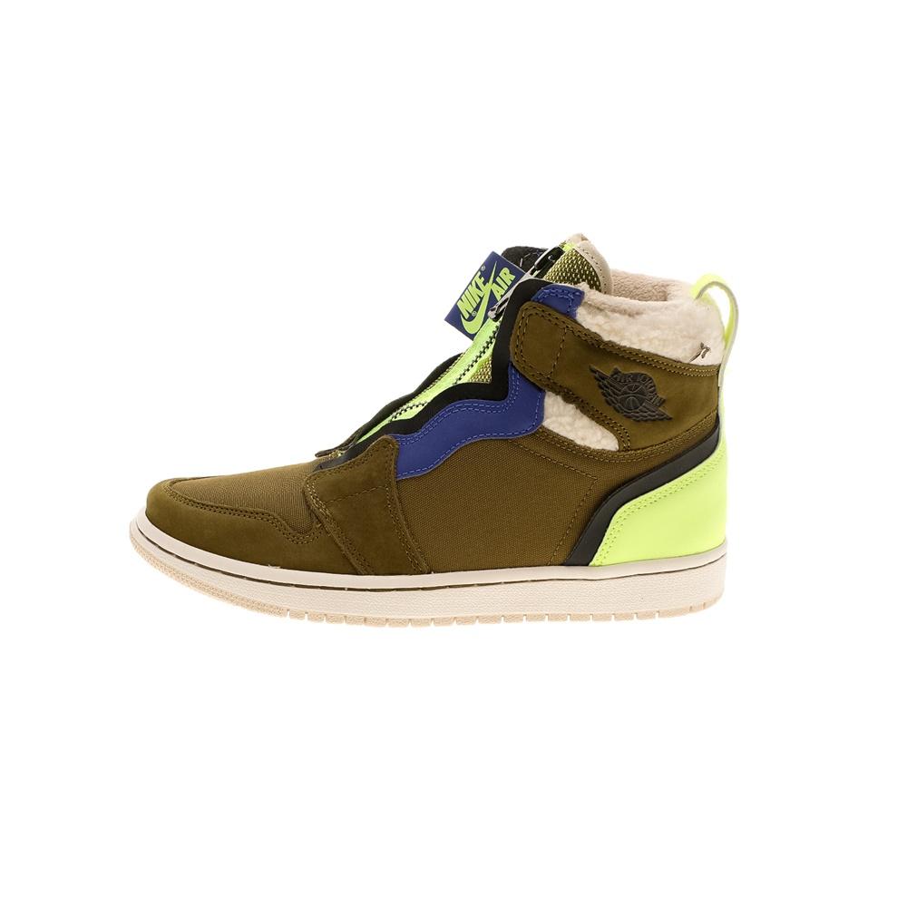 NIKE – Γυναικεία παπούτσια basketball NIKE AIR JORDAN 1 HIGH ZIP UP λαδί