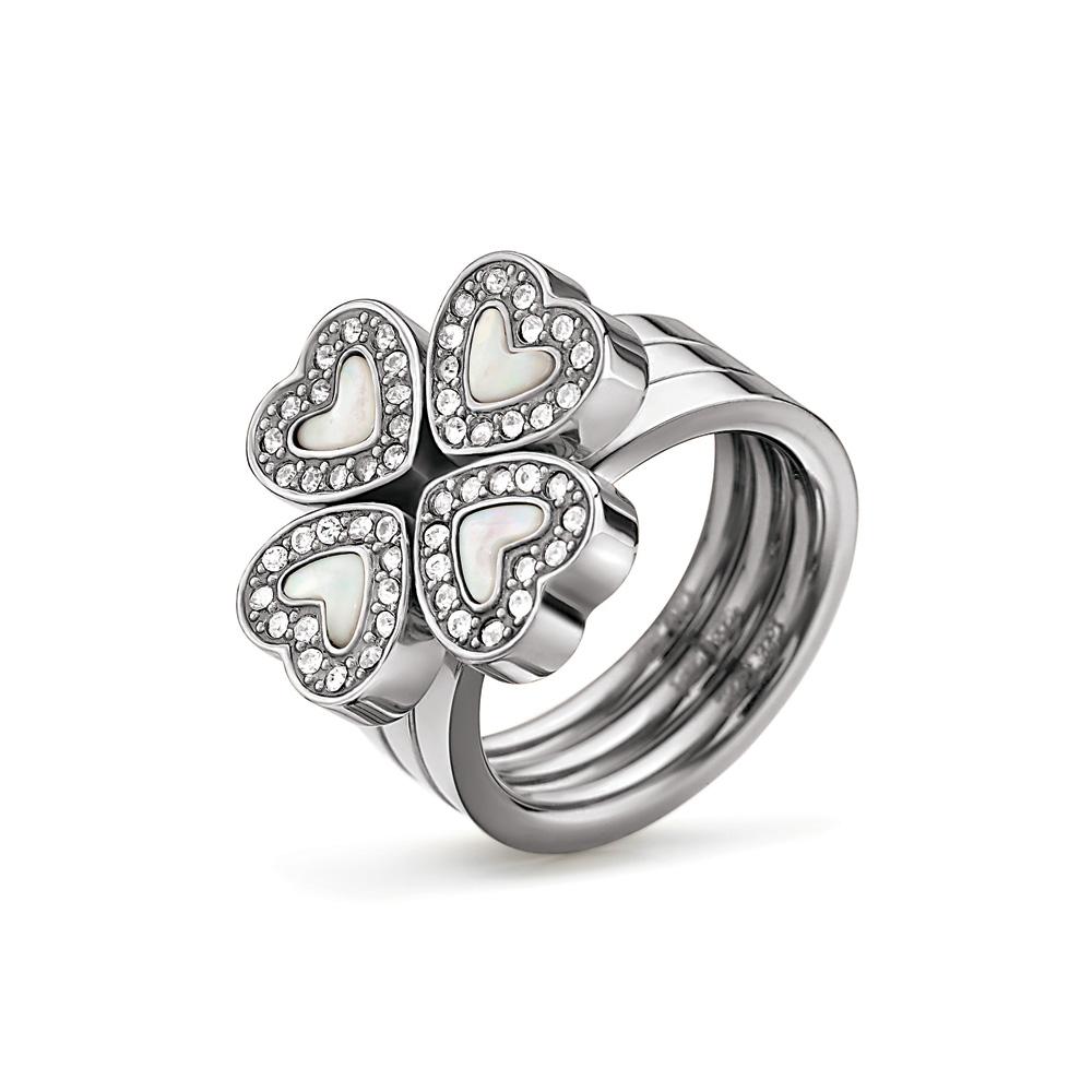 FOLLI FOLLIE - Σετ από 3 δαχτυλίδια με καρδιές FOLLI FOLLIE ασημί γυναικεία αξεσουάρ κοσμήματα δαχτυλίδια