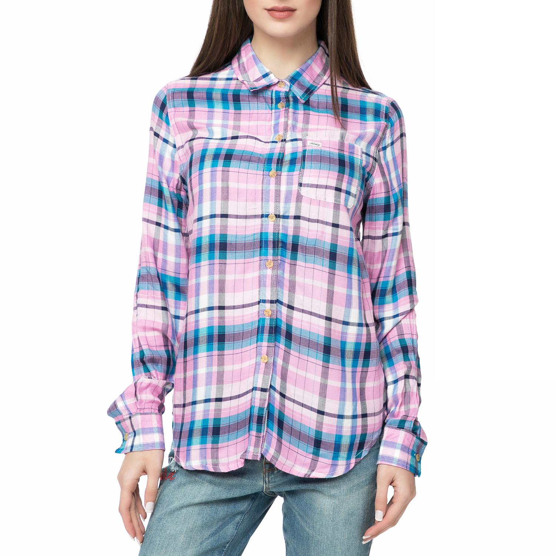b4a2e28d7cfb FUNKY BUDDHA – Γυναικείο πουκάμισο FUNKY BUDDHA με καρό μοτίβο ροζ-μπλε