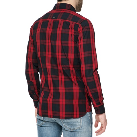 45eadb845bfd Ανδρικό μακρυμάνικο πουκάμισο FUNKY BUDDHA με καρό μοτίβο κόκκινο-μαύρο