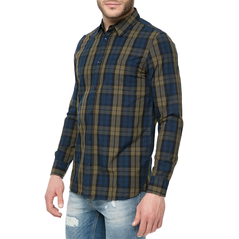 a7b197acab1a FUNKY BUDDHA - Ανδρικό μακρυμάνικο πουκάμισο FUNKY BUDDHA με καρό μοτίβο  πράσινο-μπλε