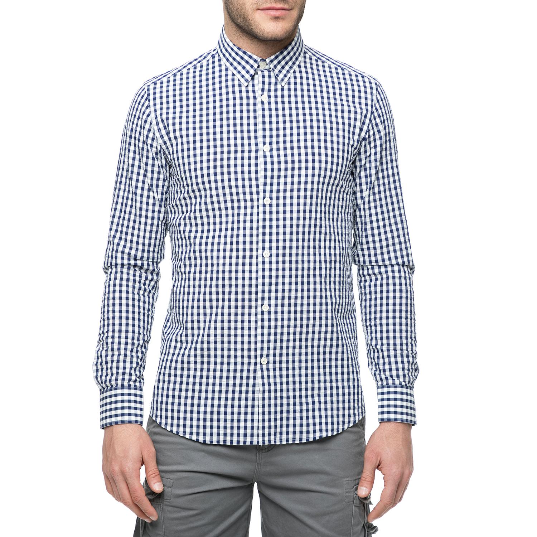 5d7ede458db2 FUNKY BUDDHA – Ανδρικό μακρυμάνικο πουκάμισο FUNKY BUDDHA με καρό μοτίβο  μπλε-λευκό