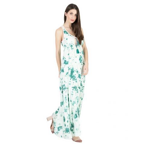 424bdb7883a7 Γυναικείο μακρύ φόρεμα  ALE λευκό - πράσινο (1671861.0-6060 ...