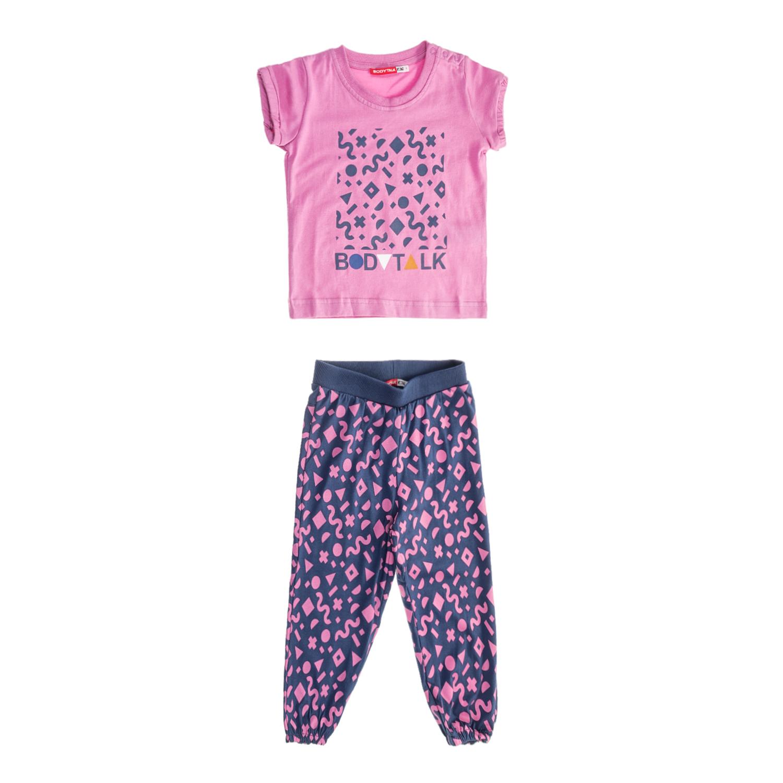BODYTALK - Παιδικό σετ μπλούζα - παντελόνι για κορίτσια BODYTALK γκρι-ροζ παιδικά girls ρούχα σετ