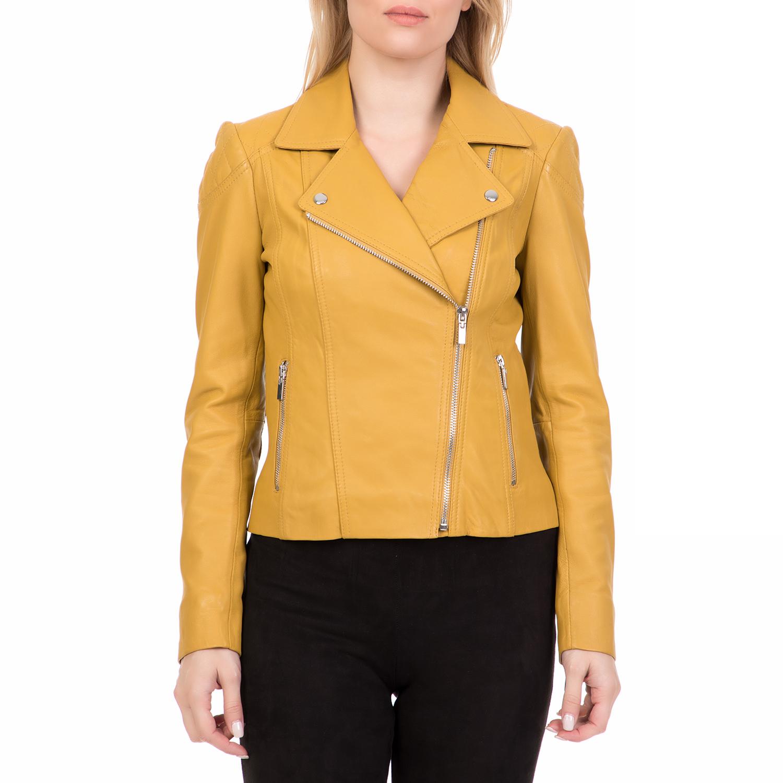 ARMA MAYS   ROSE – Γυναικείο δερμάτινο μπουφάν JESSIE Sheep Denvey κίτρινο. Factory  Outlet b14f34eaf4d