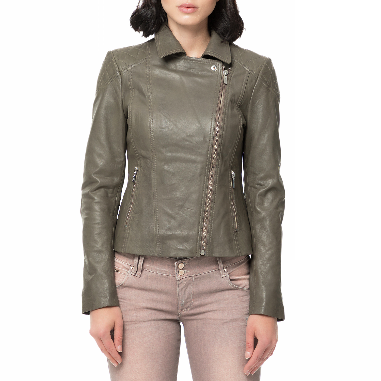 ARMA MAYS & ROSE - Γυναικείο δερμάτινο μπουφάν JESSIE Sheep Eco γκρι γυναικεία ρούχα πανωφόρια μπουφάν