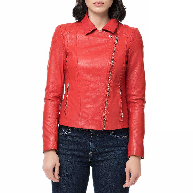 ARMA MAYS   ROSE - Γυναικείο δερμάτινο μπουφάν JESSIE Sheep Eco κόκκινο 2b6cf852ecf