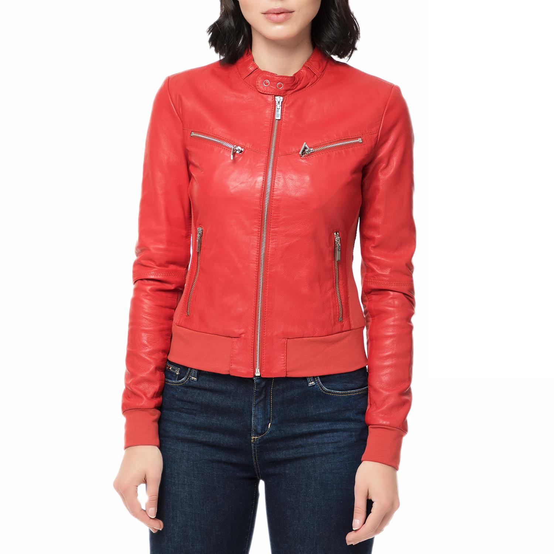 ARMA MAYS & ROSE - Γυναικείο δερμάτινο μπουφάν DEBORA Sheep Eco κόκκινο γυναικεία ρούχα πανωφόρια μπουφάν