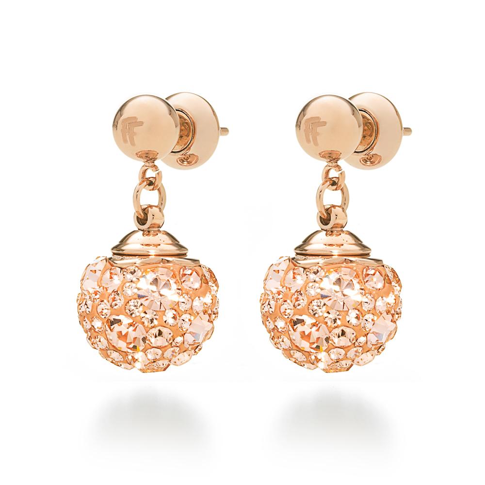 FOLLI FOLLIE – Επιχρυσωμένα ροζ καρφωτά σκουλαρίκια Folli Follie MATCH & DAZZLE με champaign κρυστάλλινες πέτρες