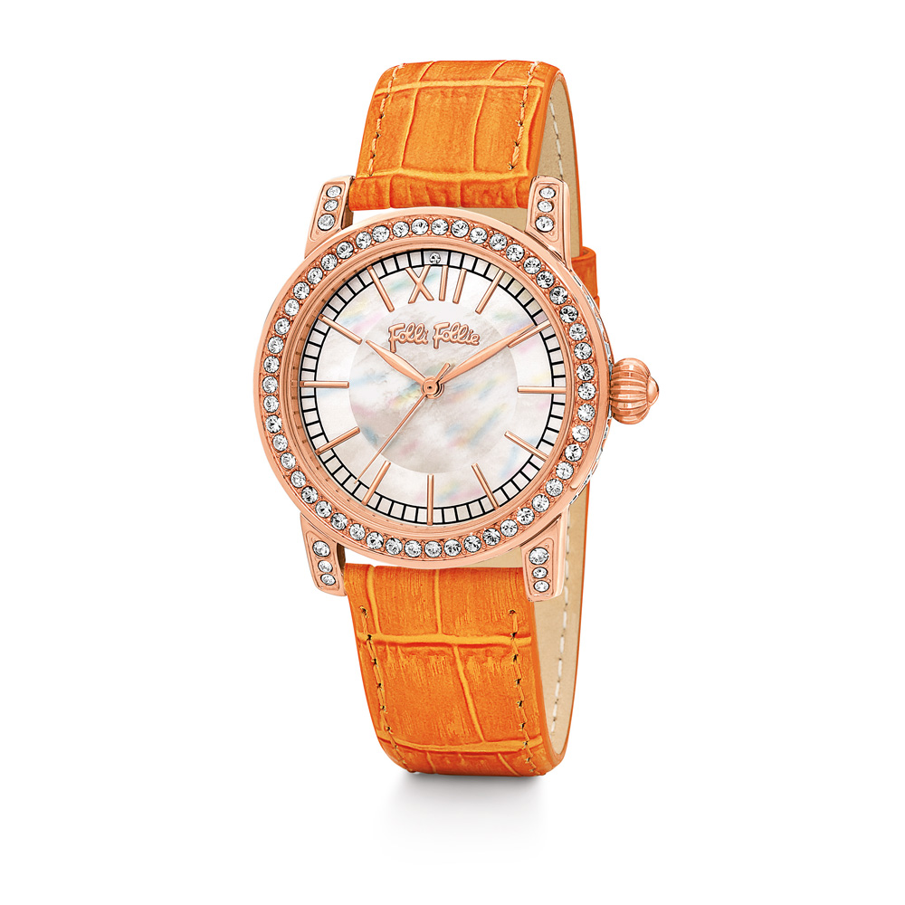 FOLLI FOLLIE - Γυναικείο ρολόι Folli Follie με δερμάτινο λουράκι πορτοκαλί γυναικεία αξεσουάρ ρολόγια δερμάτινα