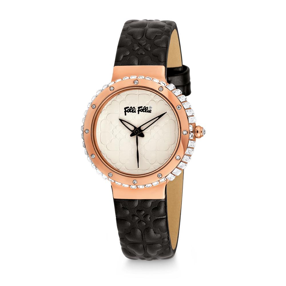 FOLLI FOLLIE - Γυναικείο ρολόι Folli Follie HEART 4 HEART με δερμάτινο λουράκι μ γυναικεία αξεσουάρ ρολόγια δερμάτινα