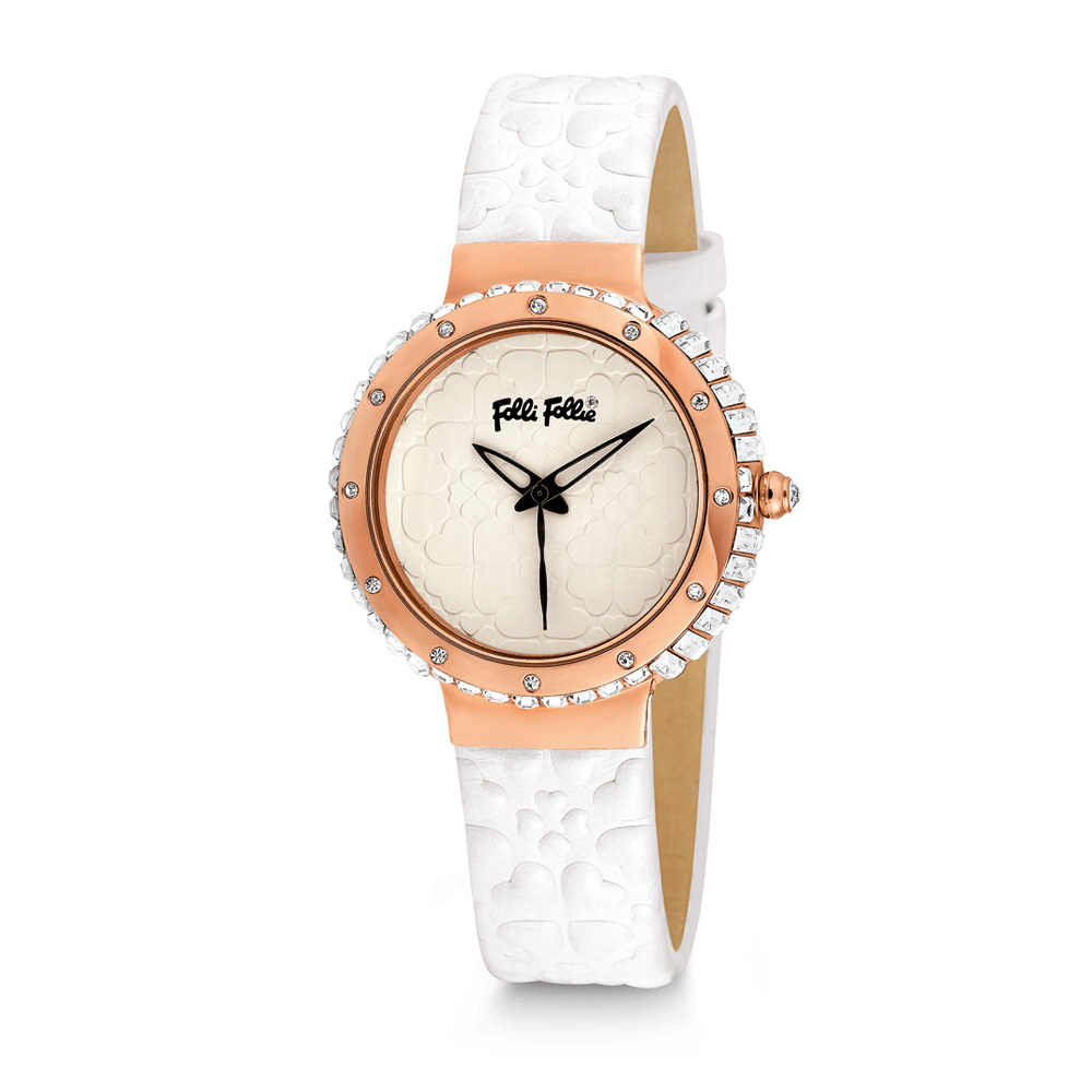 FOLLI FOLLIE - Γυναικείο ρολόι Folli Follie HEART 4 HEART με δερμάτινο λουράκι ά γυναικεία αξεσουάρ ρολόγια δερμάτινα