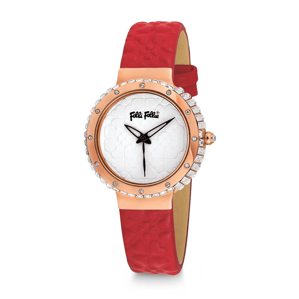 FOLLI FOLLIE - Γυναικείο ρολόι Folli Follie HEART 4 HEART με δερμάτινο λουράκι κ γυναικεία αξεσουάρ ρολόγια δερμάτινα