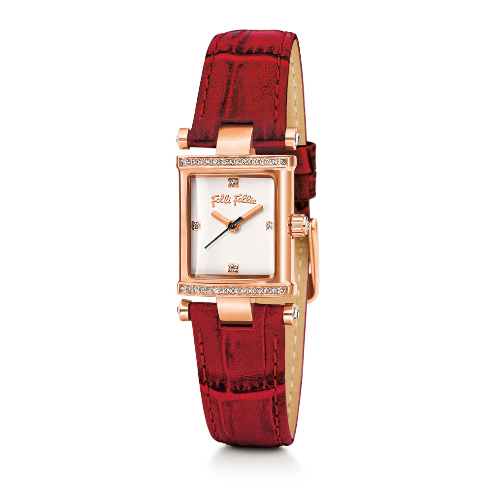 9719062573 -50% FOLLI FOLLIE – Γυναικείο ρολόι Folli Follie με δερμάτινο λουράκι  κόκκινο