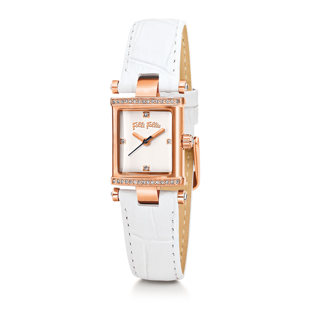 FOLLI FOLLIE - Γυναικείο ρολόι Folli Follie με δερμάτινο λουράκι άσπρο γυναικεία αξεσουάρ ρολόγια δερμάτινα