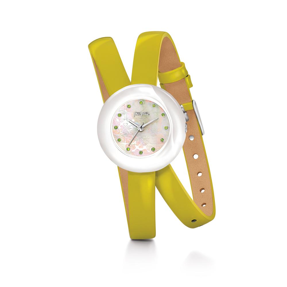 FOLLI FOLLIE - Γυναικείο ρολόι Folli Follie με διπλό δερμάτινο λουράκι λαχανί γυναικεία αξεσουάρ ρολόγια δερμάτινα