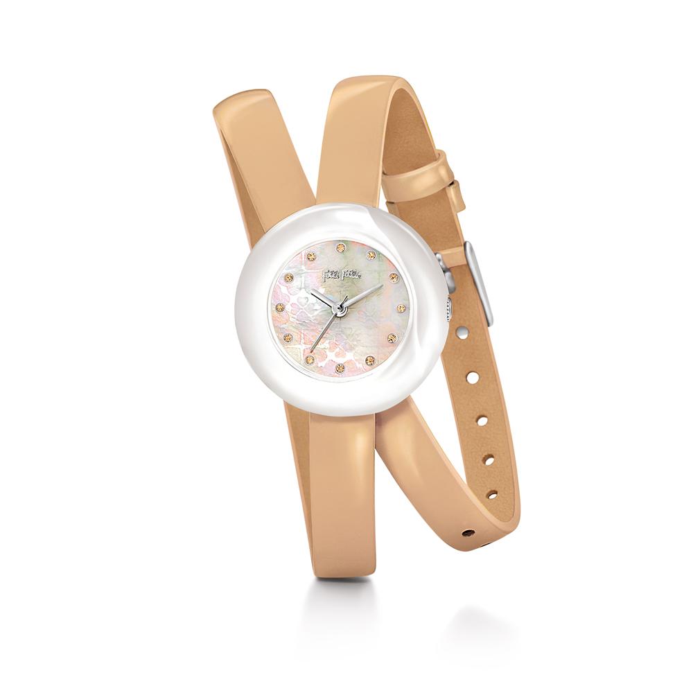 FOLLI FOLLIE - Γυναικείο ρολόι Folli Follie με διπλό δερμάτινο λουράκι μπεζ γυναικεία αξεσουάρ ρολόγια δερμάτινα