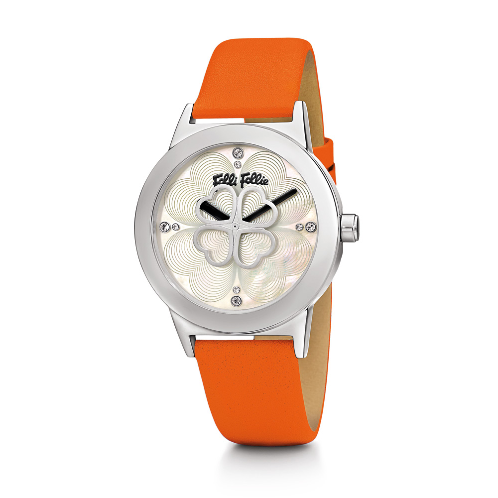 b8ce77d11d -50% FOLLI FOLLIE – Γυναικείο ρολόι Folli Follie HEART 4 HEART με δερμάτινο  λουράκι πορτοκαλί