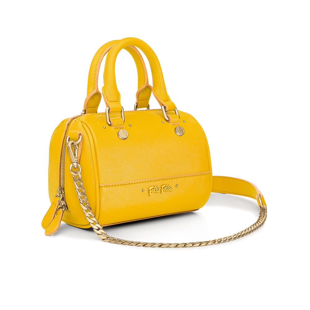 FOLLI FOLLIE - Γυναικεία μικρή τσάντα χειρός FOLLI FOLLIE UPTOWN BEAUTY κίτρινη γυναικεία αξεσουάρ τσάντες σακίδια χειρός