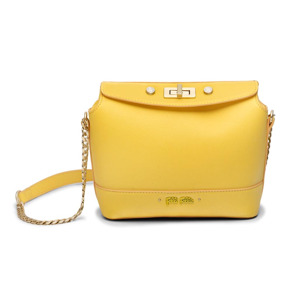 61231234c7 FOLLI FOLLIE – Γυναικεία τσάντα ώμου FOLLI FOLLIE UPTOWN BEAUTY κίτρινη  1676794.0-0000