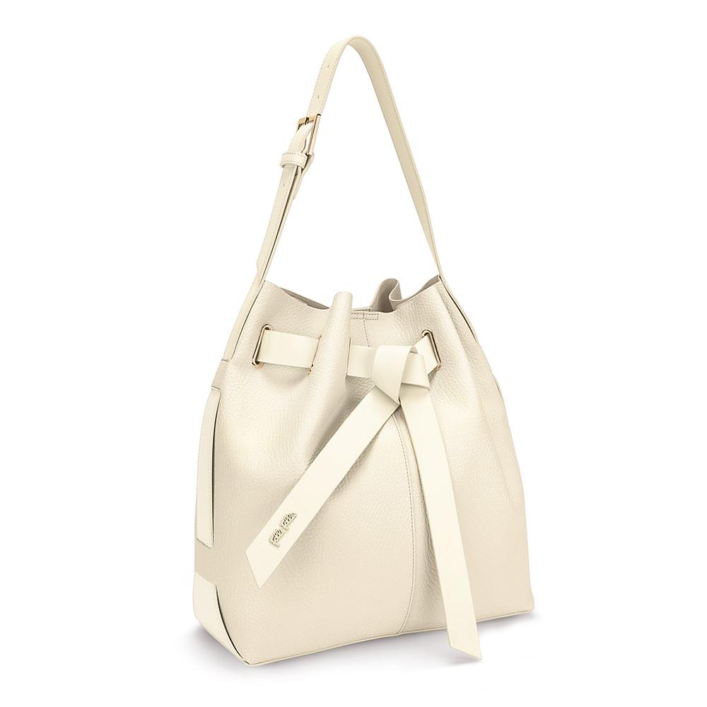 FOLLI FOLLIE - Γυναικεία μεγάλη τσάντα πουγκί FOLLI FOLLIE εκρού γυναικεία αξεσουάρ τσάντες σακίδια ωμου
