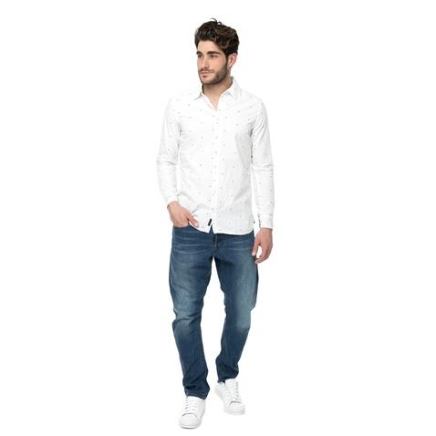 42d5966933fe Ανδρικό πουκάμισο FUNKY BUDDHA λευκό με πουά μοτίβο (1676805.0-ο391 ...