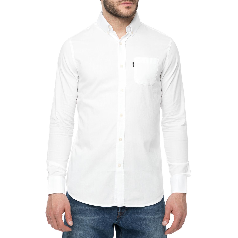 FUNKY BUDDHA - Ανδρικό πουκάμισο FUNKY BUDDHA λευκό ανδρικά ρούχα πουκάμισα μακρυμάνικα