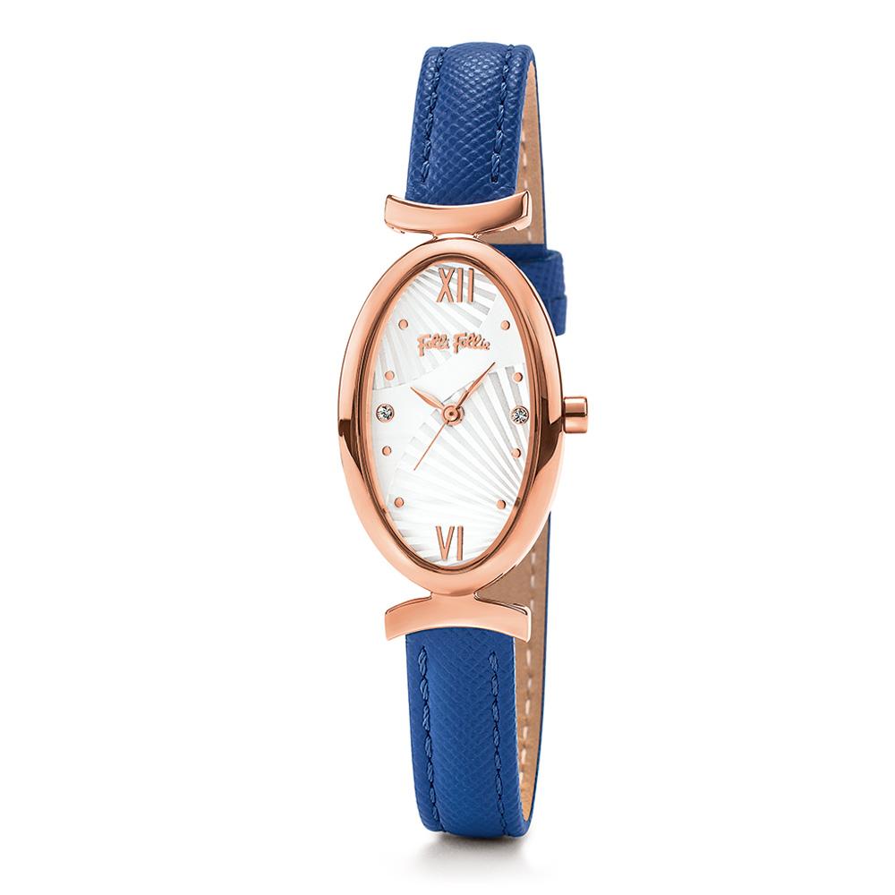 FOLLI FOLLIE - Γυναικείο ρολόι με δερμάτινο λουράκι FOLLI FOLLIE LADY BLOOM μπλε