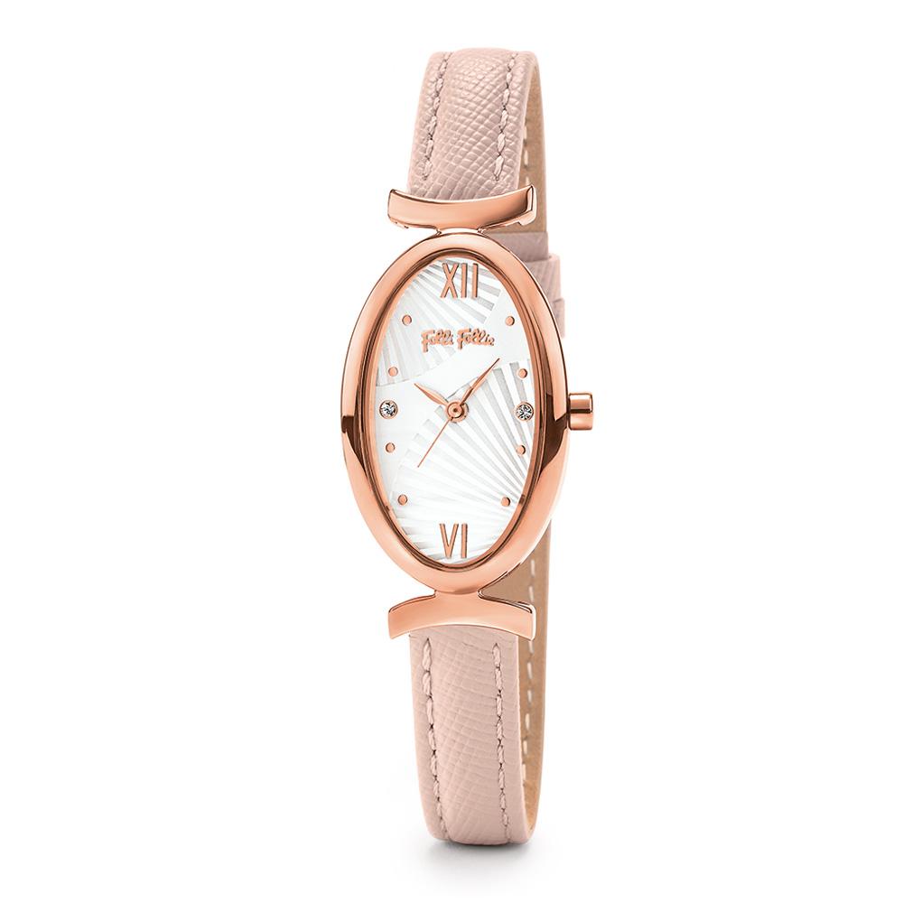 FOLLI FOLLIE - Γυναικείο ρολόι με δερμάτινο λουράκι FOLLI FOLLIE LADY BLOOM εκρού