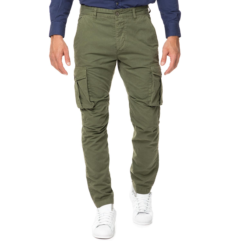 HAMPTONS - Ανδρικό cargo παντελόνι HAMPTONS χακί ανδρικά ρούχα παντελόνια cargo