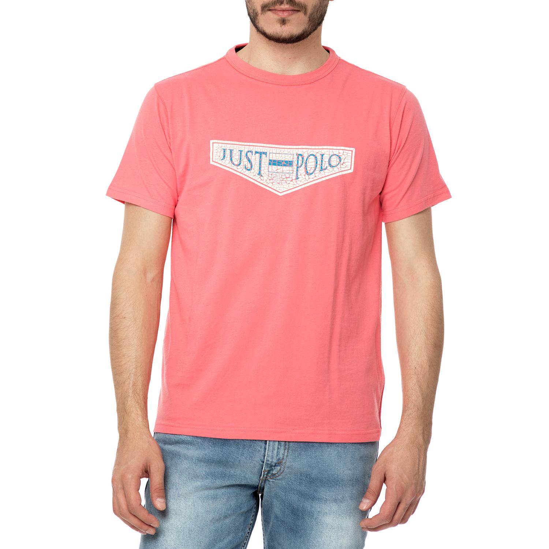88c9d74b9cee JUST POLO - Ανδρικό t-shirt TROPHY LOGO JUST POLO ροζ