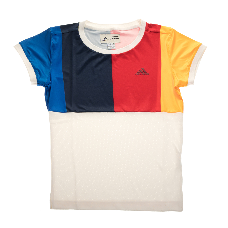 ADIDAS - Γυναικεία κοντομάνικη αθλητική μπλούζα adidas by Pharrell Williams λευκ γυναικεία ρούχα αθλητικά t shirt τοπ
