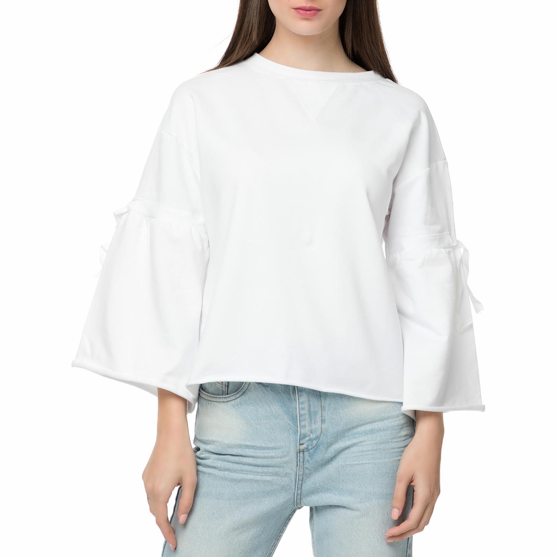 2b6074dbb841 FOUR ANGELS - Γυναικεία φούτερ μπλούζα με δεσίματα FOUR ANGELS λευκή