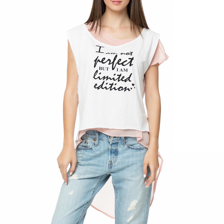 FOUR ANGELS - Γυναικεία διπλή αμάνικη μπλούζα με μουσελίνα FOUR ANGELS λευκό-ροζ γυναικεία ρούχα μπλούζες αμάνικες
