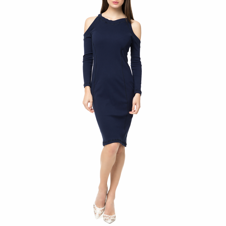 FOUR ANGELS - Γυναικείο midi φόρεμα rib με ανοιχτούς ώμους FOUR ANGELS μπλε σκού γυναικεία ρούχα φορέματα μέχρι το γόνατο