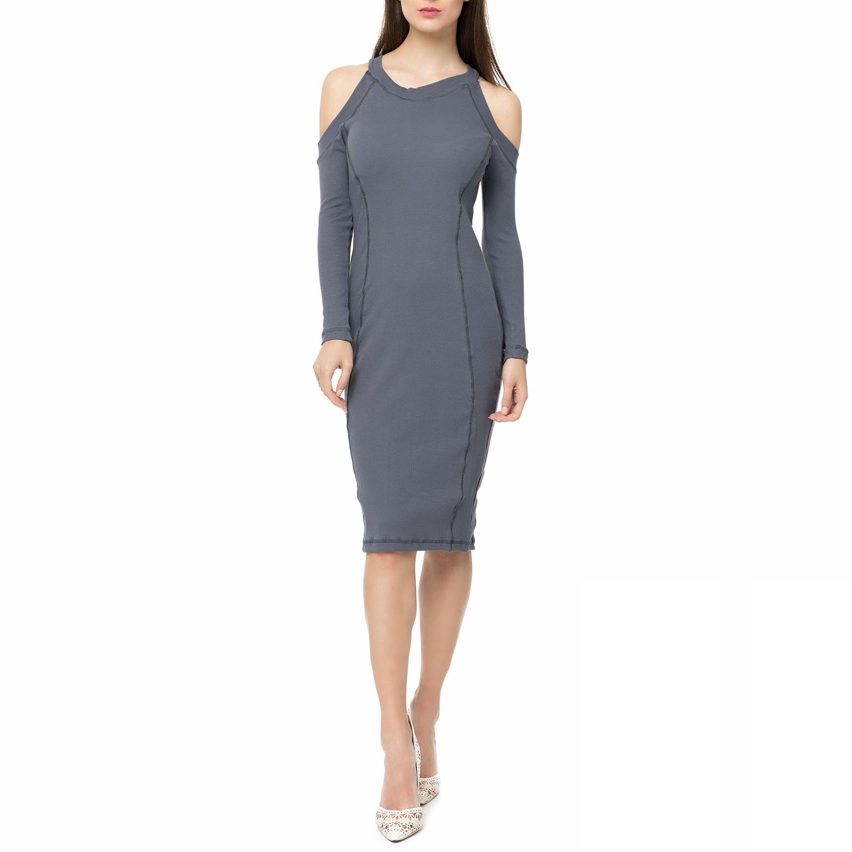 FOUR ANGELS - Γυναικείο midi φόρεμα rib με ανοιχτούς ώμους FOUR ANGELS γκρι γυναικεία ρούχα φορέματα μέχρι το γόνατο