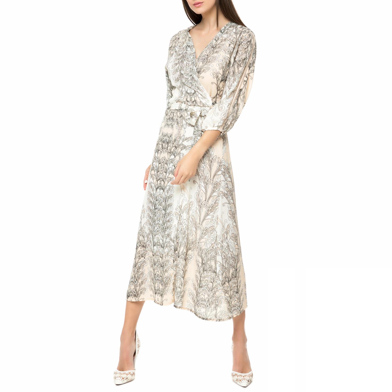 FOUR ANGELS - Γυναικείο midi φόρεμα FOUR ANGELS εμπριμέ γυναικεία ρούχα φορέματα μέχρι το γόνατο