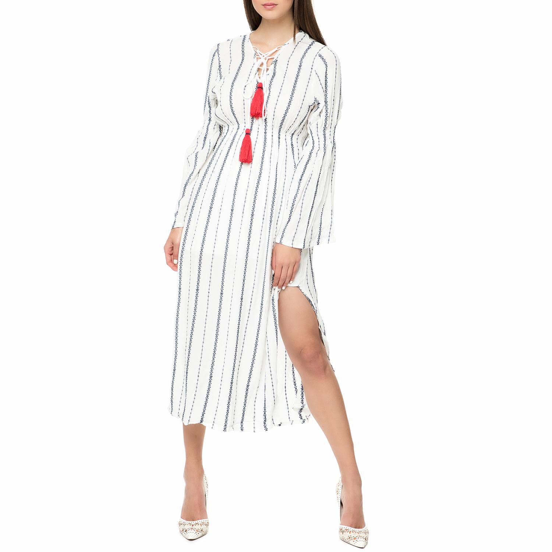 FOUR ANGELS - Γυναικείο midi φόρεμα με κέντημα FOUR ANGELS λευκό-μπλε γυναικεία ρούχα φορέματα μέχρι το γόνατο