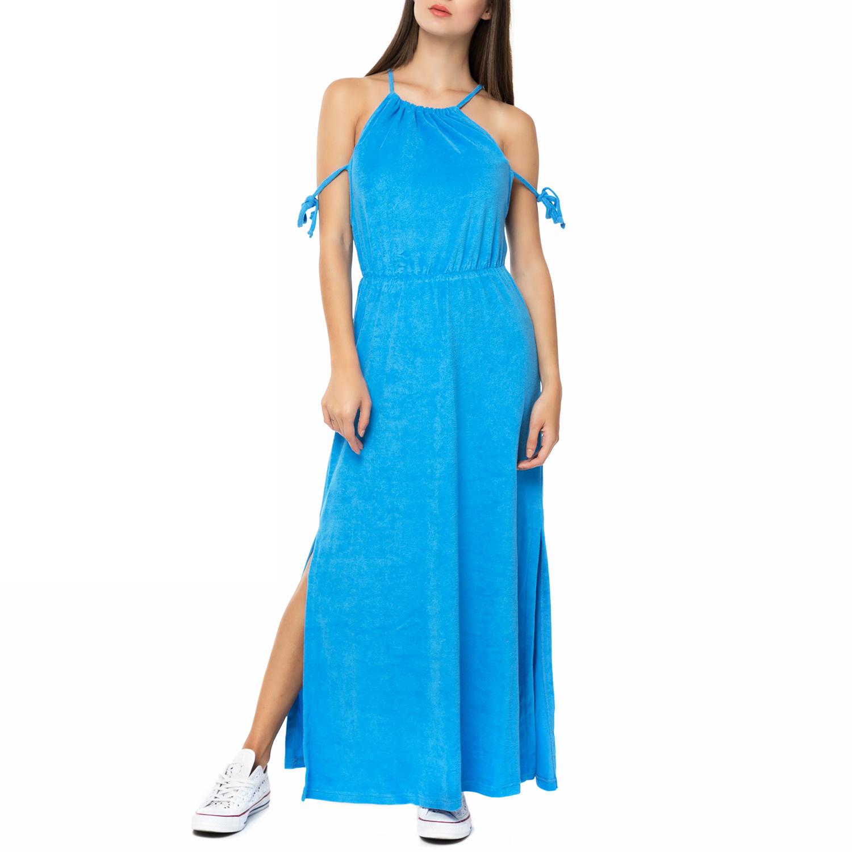 MYMOO - Γυναικείο πετσετέ μάξι φόρεμα με κορδόνια MYMOO γαλάζιο γυναικεία ρούχα φορέματα μάξι