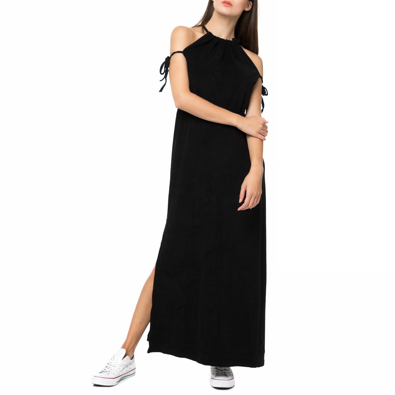 MYMOO - Γυναικείο πετσετέ μάξι φόρεμα με κορδόνια MYMOO μαύρο γυναικεία ρούχα φορέματα μάξι