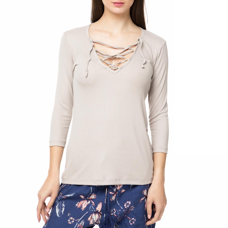 MYMOO - Γυναικεία μπλούζα με κορδόνια MYMOO γκρι ανοιχτό sales on sales